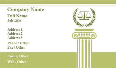 White and Green Scales of Justice Business Card Template